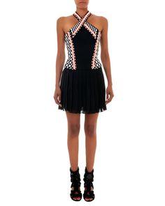 Beaded Halter Dress with Short Skirt, Black/White/Orange by Balmain at Neiman Marcus.