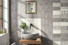 May ceramic by Iris Ceramica tile for walls and backsplashes is bringing vintage back! The imperfect glaze and fun decos will bring new life to designs in a variety of colors. Tiles Uk, Grey Tiles, Iris, Outdoor Porcelain Tile, Bathroom Tile Designs, Bathroom Ideas, Geometric Decor, Ceramic Wall Tiles, Wall And Floor Tiles