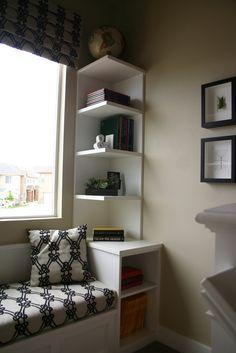 cool corner shelf - built into window seat