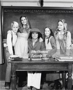 Michael Landon with his off-screen children (left) and his on-screen children (right).