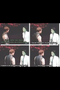 """""""Excuse me, there's no pretense here. I happen to be genuinely self-absorbed and deeply shallow!"""" Elphaba and Fiyero in Wicked Theatre Nerds, Music Theater, Broadway Theatre, Broadway Shows, Wicked Musical, Ella Enchanted, Aaron Tveit, Defying Gravity, Look At You"""