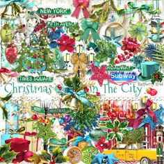 A Christmas themed set of embellishments designed to coordinate with the Christmas In The City scrapbook collection from Raspberry Road.
