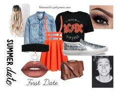 """""""First Date ♥"""" by kdmorante on Polyvore featuring Boohoo, Vans, Lime Crime, Trendy, 5sos, 5secondsofsummer and 2016"""