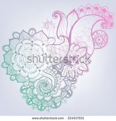 Grunge Hand-Drawn Abstract Henna Mehndi Flowers and Paisley Doodle Vector Illustration Design Element. Modern Mandala Hand Drawn Doodle Art