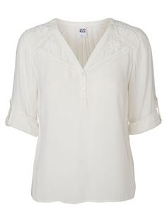 LACED 3/4 SLEEVED BLOUSE, Snow White