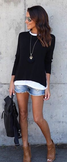#summer #outfits Black Knit + Ripped Denim Short
