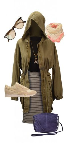 BDG army jacket, $129; Silence + Noise crop top, $34; BDG skirt, $59; Urban Outfitters crossbody bag, $49; Reebok sneakers, $60; BDG scarf, $34; and Urban Outfitters crystal necklace, $32, Urban Outfitters. Oliver Peoples optical glasses, $299, Visions.