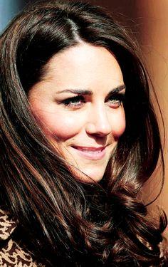 Kate Middleton's dark brown hair with subtle caramel hi lights