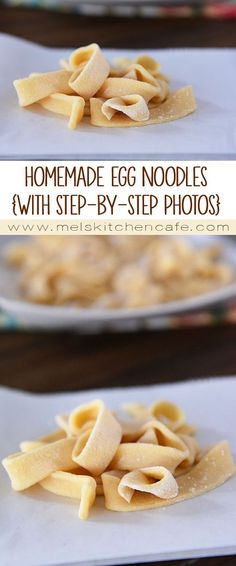 For an extra special pasta night try these easy homemade egg noodles! The recipe includes both food processor or by hand methods as well as a picture tutorial.