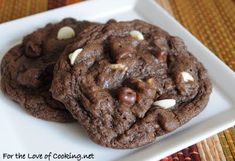 For the Love of Cooking » Triple Chocolate Cookies. My notes: I make these with all white chips or a mix of peanut butter and white chips. Crazy good.