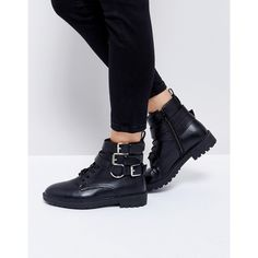 RAID Helena Black Multi Buckle Grunge Flat Ankle Boots (80 AUD) ❤ liked on Polyvore featuring shoes, boots, ankle booties, black, black laced booties, ankle boots, laced up flats, black lace up boots and black pointed flats