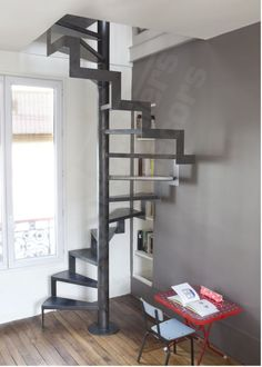 Find out all of the information about the ESCALIERS DECORS product: spiral staircase / metal frame / wooden steps / without risers Contact a supplier or the parent company directly to get a quote or to find out a price or your closest point of sale. Staircase Metal, Attic Staircase, Spiral Staircase, Staircase Design, Staircases, Tiny House Stairs, Modern Stairs, Loft Design, Interior Design