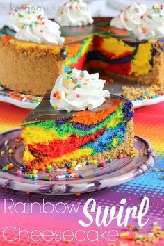 Party in a cheesecake! // Rainbow Swirl Cheesecake Recipe via @katrinaskitchen