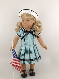 "American Girl 18-inch Doll Clothes - ""Lots of Dots"" Sailor Dress & Sailor Hat"