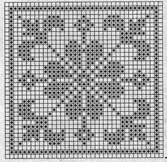 Quatrat in Filethäkelei Filet Crochet Charts, Crochet Motifs, Crochet Blocks, Crochet Cross, Crochet Diagram, Knitting Charts, Crochet Squares, Crochet Doilies, Crochet Patterns