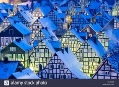 Winter Night View Of Snow Covered Old Houses In Freudenberg Stock Photo, Royalty Free Image: 52414788 - Alamy