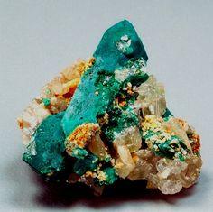 Otavite on Rosasite ps. Malachite and Azurite with Cerussite - Tsumeb Mine, Tsumeb, Namibia.