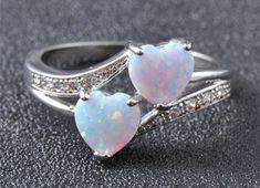 Silver Opal Heart Ring on Mercari Heart Jewelry, Cute Jewelry, Crystal Jewelry, Heart Ring, Jewelry Accessories, Jewlery, Cute Rings, Pretty Rings, Beautiful Rings