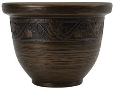 Listo 14-Inch Glaze Resin Pottery, Celtic Bronze ** Check this awesome image  : Planters Pots containers