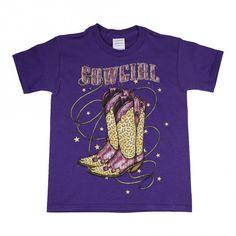 Girls Purple Vintage Cowgirl Boots Print Short Sleeve Cotton T-Shirt 6-16