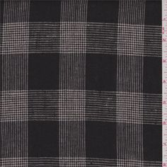 Black and ivory plaid.This lightweight linen fabric has a stiff hand.Compare to $30.00/yd Jacket