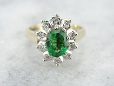 Hey, I found this really awesome Etsy listing at https://www.etsy.com/listing/179045064/beautiful-vintage-diamond-halo-green