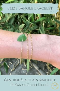 Dainty gold sea glass bracelet made with authentic sea glass from Panama. Bracelet Making, Jewelry Making, Bangle Bracelets, Bangles, Dainty Gold Jewelry, Sea Glass Jewelry, Jewelry Shop, Panama, Women Jewelry