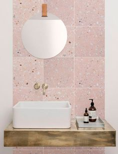 terrazo flooring Light pink terrazzo tile on bathroom wall vanity backsplash. The new and trendy terrazzo collection Marble 5 from Mosaic del Sur comes in pastel colours with small sparse white marble pieces for a clean fresh look Pink Bathroom Tiles, Pink Tiles, Bathroom Colors, Modern Bathroom, Small Bathroom, Bathroom Marble, Marble Mosaic, Minimalist Bathroom, Pastel Bathroom