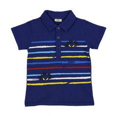 Baby Boys Navy Blue Polo Shirt with Multi-Coloured Stripes and Monster Print. Available now at www.chocolateclothing.co.uk