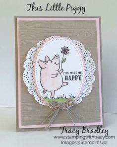 Can you spot three new products on my card?  #1 The adorable little pig! The stamp set, This Little Piggy, includes four different poses of this cutie pie pig along with sentiments, kis…
