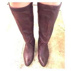 Frye brown tall super soft leather slouch boot Brown super soft genuine leather Frye boot! Worn once and due to the soft leather there's one water spot on the outside right calf, and a small faint scratch on inside left toe/foot. Beautiful shoe/boots and timeless style! Frye Shoes