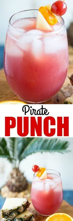 Inspired by Carnival Cruises, this Pirate Punch is sweet, fruity, and tastes just like the tropics! Makes a pitcher for 8 or double the batch! via (tropical clocks summer cocktails) Party Drinks, Fun Drinks, Yummy Drinks, Alcoholic Drinks, Detox Drinks, Beach Drinks, Drinks Alcohol, Refreshing Drinks, Summer Cocktails