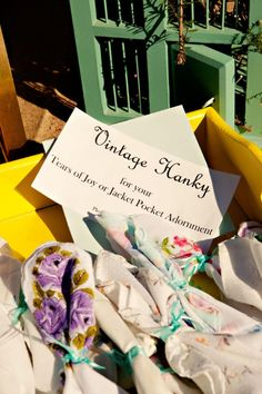 Three Points Ranch Texas Wedding: Love these vintage hankies as a wedding favor