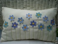 Sewing Pillows Items similar to Decorative Pillow - Turquoise and Blue Felt Flower Bouquet, Stitched Stems, Rectangular on Etsy - Applique Cushions, Cushion Embroidery, Crochet Cushions, Sewing Pillows, Embroidered Pillows, Felt Cushion, Felt Pillow, Quilted Pillow, Felt Flower Pillow