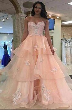 Applique prom dresses, pink a-line/princess prom dresses, long pink prom dresses, pink strapless backless lace organza long qunceanera dresses prom dresses Prom Dresses For Teens Long, Backless Prom Dresses, Ball Gowns Prom, A Line Prom Dresses, Formal Dresses For Women, Cheap Prom Dresses, Prom Party Dresses, Pink Dresses, Lace Dresses