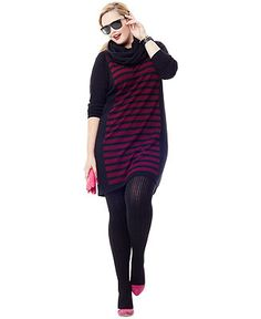 AGB Plus Size Dress, Long-Sleeve Striped Lace Sweater - Plus Size Sweaters - Plus Sizes - Macy's