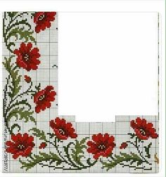 """Discover thousands of images about """"Poppies in the Cross Stitch Technique"""" Just Cross Stitch, Beaded Cross Stitch, Cross Stitch Borders, Cross Stitch Flowers, Cross Stitch Designs, Cross Stitching, Cross Stitch Embroidery, Embroidery Patterns, Hand Embroidery"""