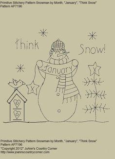 "Primitive Stitchery E-Pattern Snowman by Month ""January"", ""Think Snow"""