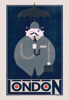 Rainy London travel poster