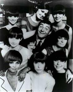 Vidal Sassoon surrounded by His Geometric Bob Haircut Models, 1960s
