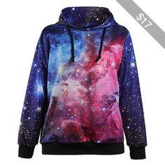 Blue Galaxy Pocket Accent Hooded Sweatshirt
