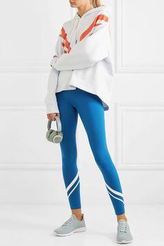 b8ff92a62dfa6 Tory Sport - Striped Stretch-tactel Leggings - Blue