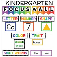 FOCUS WALL KINDERGARTEN sight words letters numbers shapes colors This kindergarten (or pre-k) focus wall set includes everything you need to set up an effective, eye-catching focus wall for your students. Kindergarten Focus Walls, Kindergarten Classroom Setup, Kindergarten Lesson Plans, Homeschool Kindergarten, Kindergarten Calendar Board, Homeschooling, Kindergarten Bulletin Boards, Classroom Door, Preschool Rooms
