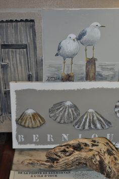 tacks on the edges of the canvas, 'frameless' paint job. Watercolour Painting, Painting On Wood, Painting & Drawing, Art Plage, Beach Artwork, Bird Drawings, Driftwood Art, Sea Birds, Canvas Pictures