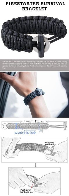 Ideas camping diy survival paracord projects for 2019 Outdoor Survival, Survival Kit, Survival Skills, Survival Equipment, Paracord Knots, Paracord Bracelets, Survival Bracelets, Knot Bracelets, Bangles
