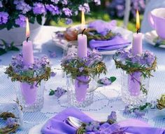 Purple candle centerpiece