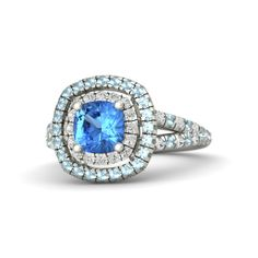 Cushion Blue Topaz 14K White Gold Ring with Aquamarine & White Sapphire | Lillian Ring (6mm gem) | Gemvara