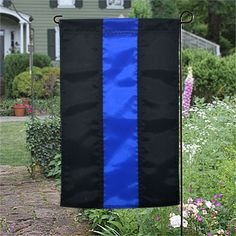thin, blue, line, police, garden, flag