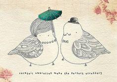 cute bird couple illustration