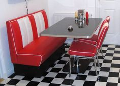 Details about Retro Furniture American Diner Restaurant Kitchen Half Booth Table Set Red, American Diner Kitchen, 50s Diner Kitchen, Kitchen Booths, Retro Diner, Vintage Kitchen, Pizza Kitchen, Retro Kitchens, Diner Table, Kitchen Table Chairs
